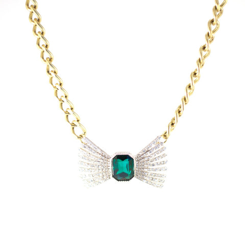 Date Night Delightful Necklace. Bronze coloured chain, emerald jewel, bow-shaped.
