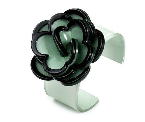 Acrylic flower bangle green