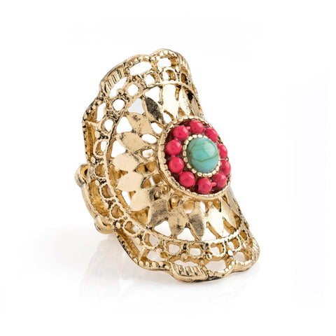 Antique gold colour coral and turquoise effect oval elasticated ring