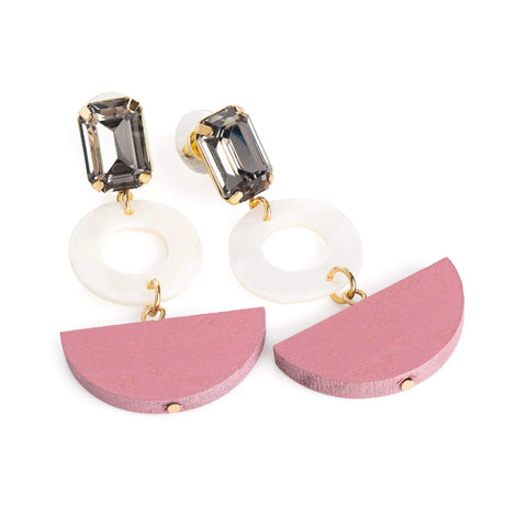Black diamond colour and white shell effect drop earring