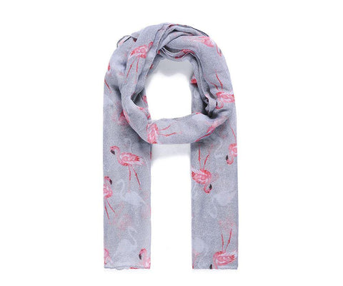 grey flamingo print scarf