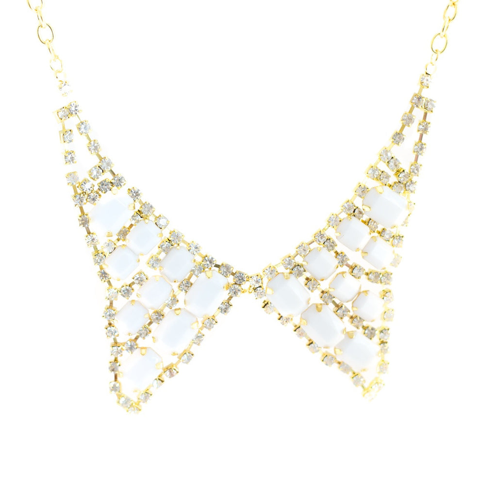 Collar Candy Necklace. Gold colour Peter Pan necklace with white stones.
