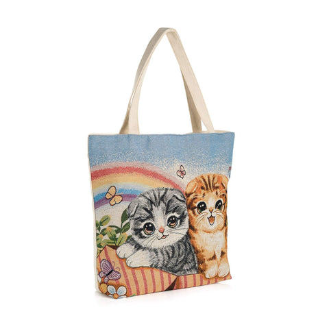 Cream and blue tone cat design bag