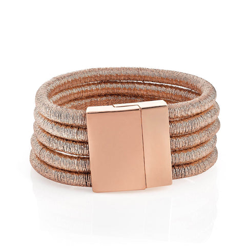Five row rose gold colour thread bracelet with magnetic clasp