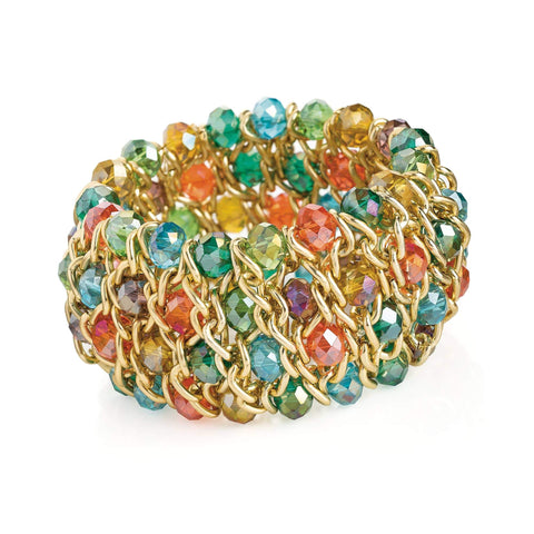 Gold colour and multi colour glass bead elasticated bracelet