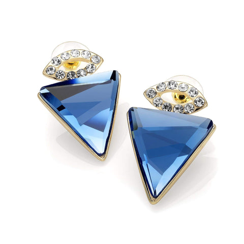 Gold colour blue glass triangle design earring