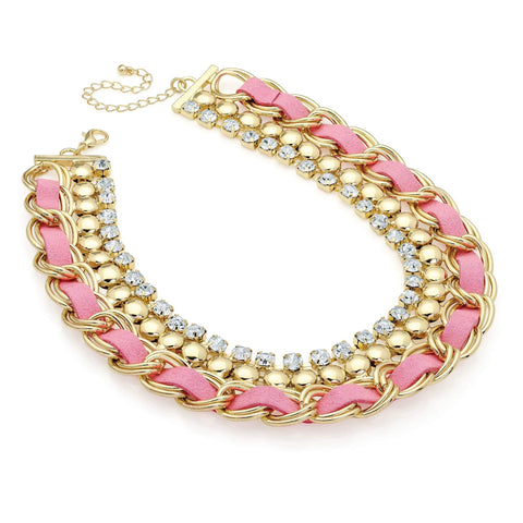 Gold colour crystal and pink ribbon chain choker necklace