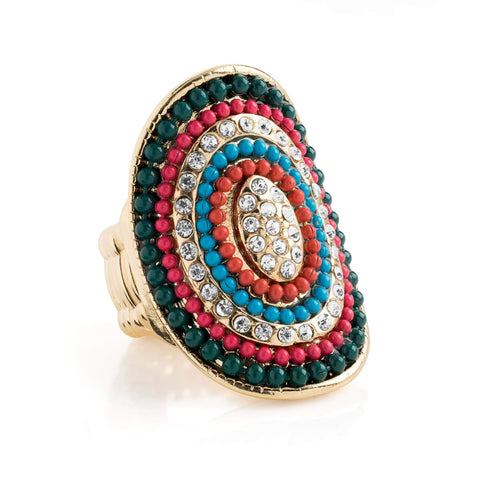 Gold colour crystal multi colour tribal look oval elasticated ring