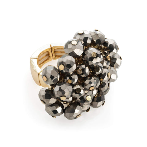 Gold colour hematite glass bead elasticated ring