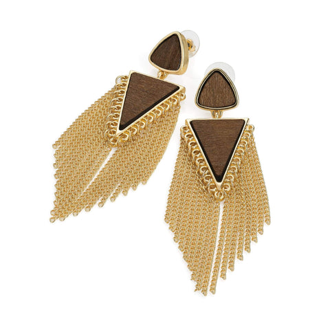 Gold colour wood effect chain tassel earring