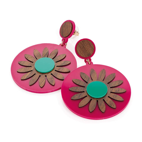 Gold colour wood effect fuchsia and turquoise flower design round earring