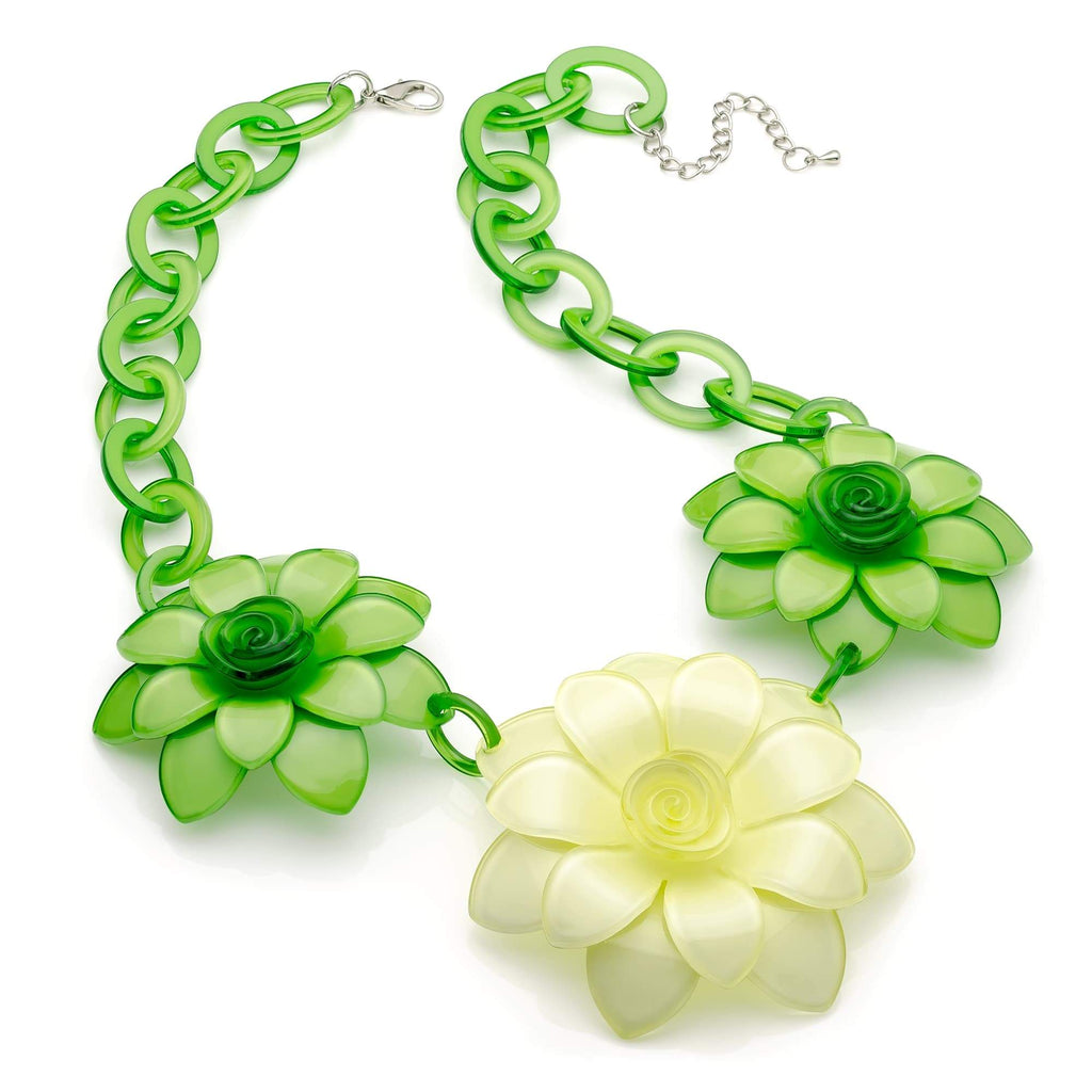 Green tone three flower acrylic fashion necklace