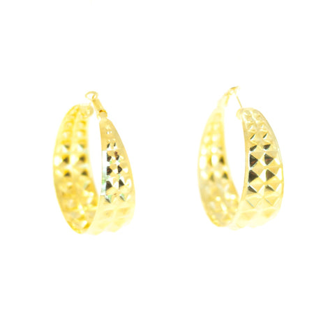 Hardcore Hoopla Earrings (Gold). Hoop, gold-coloured metal stud design.
