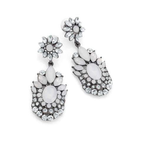 Hematite grey colour crystal and white opal effect bead drop earring
