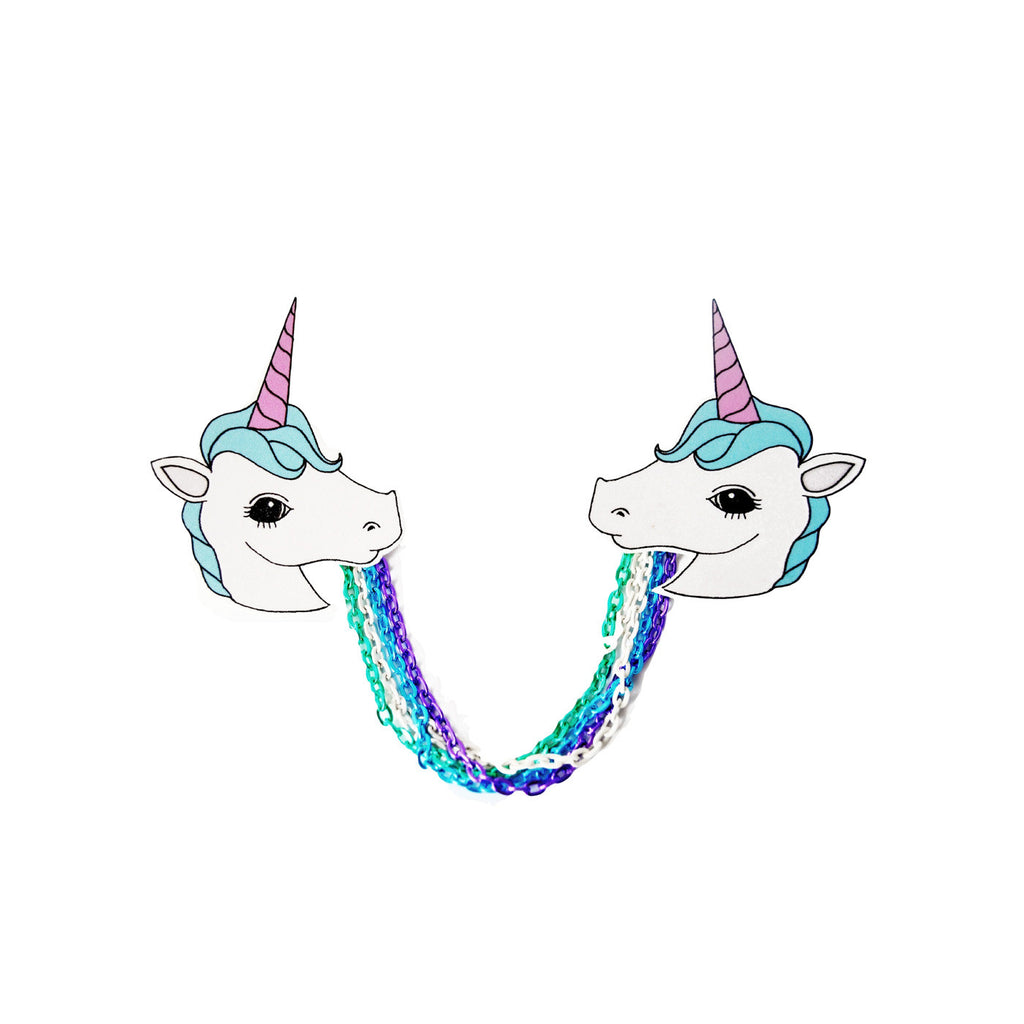 Lazylinepainterbelle I Am A Unicorn Collar Clips. Super Cute Unicorn Clips with pastel colours and contrasting rainbow link chain.