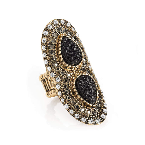 Light antique gold crystal hematite effect elasticated ring