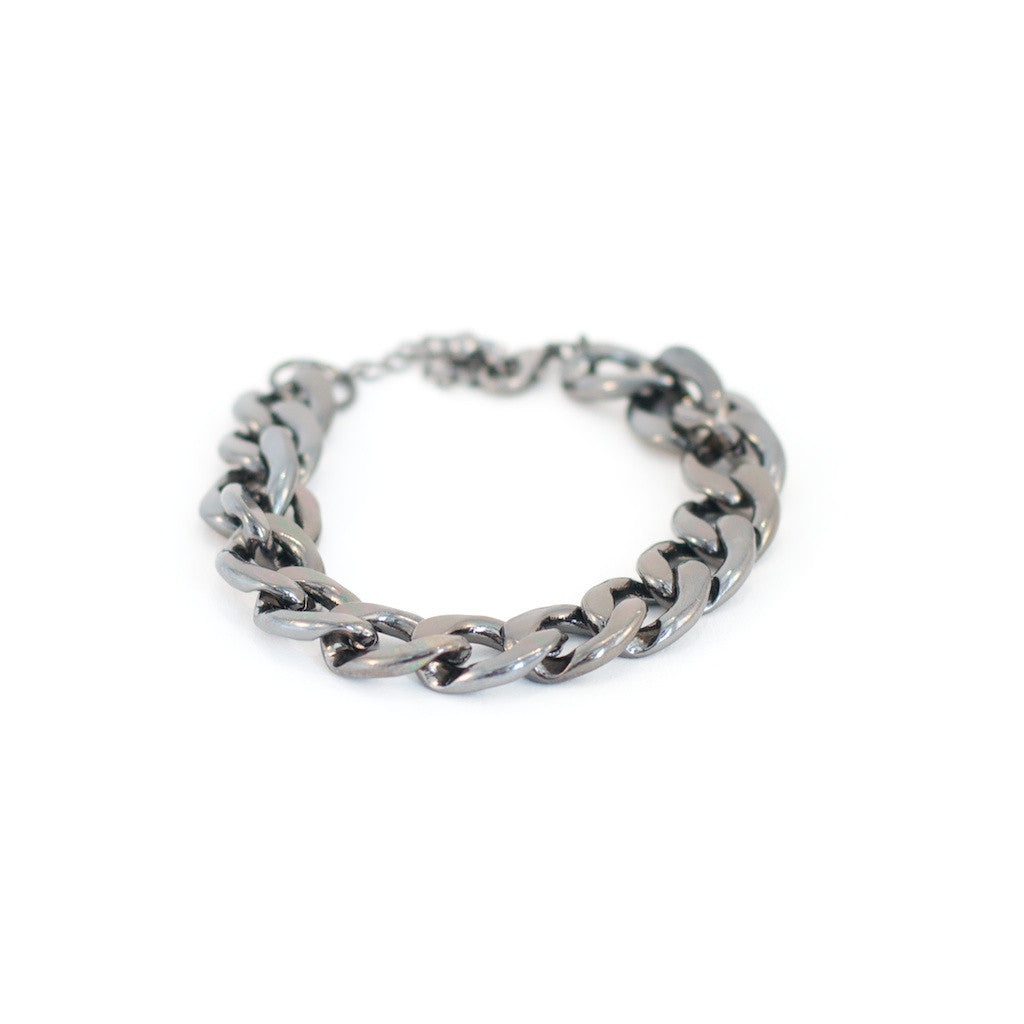 Mary Chain Bracelet. Gunmetal coloured metal chunky bracelet