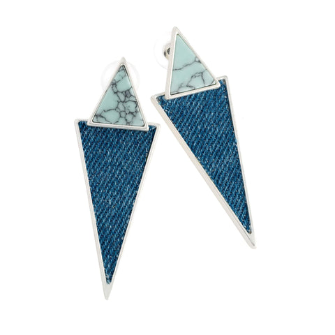 Matt silver colour blue shell effect denim triangle earring