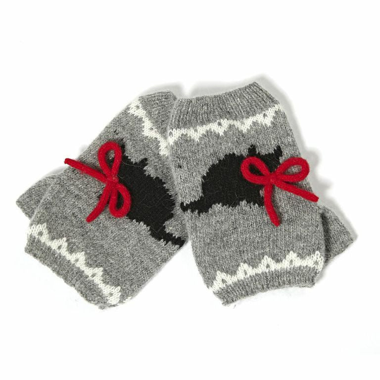 Mystic Moggy Gloves. Super cute palm warmers with cat pattern