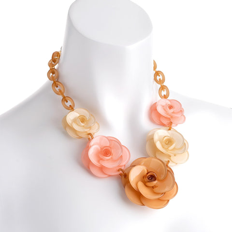 Rhodium colour brown, cream and pink tone acrylic flower necklace