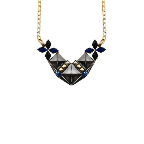 She Wore Blue Velvet Necklace. Metallic and blue stone pyramid plate necklace.