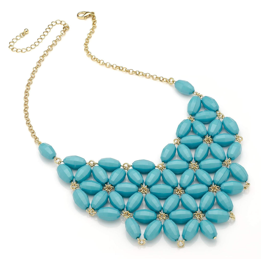Shiny gold colour bright turquoise colour flower look bead chain choker necklace