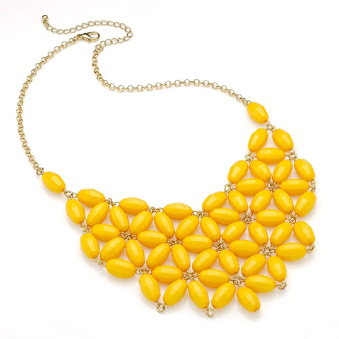 Shiny gold colour bright yellow flower look bead chain choker necklace