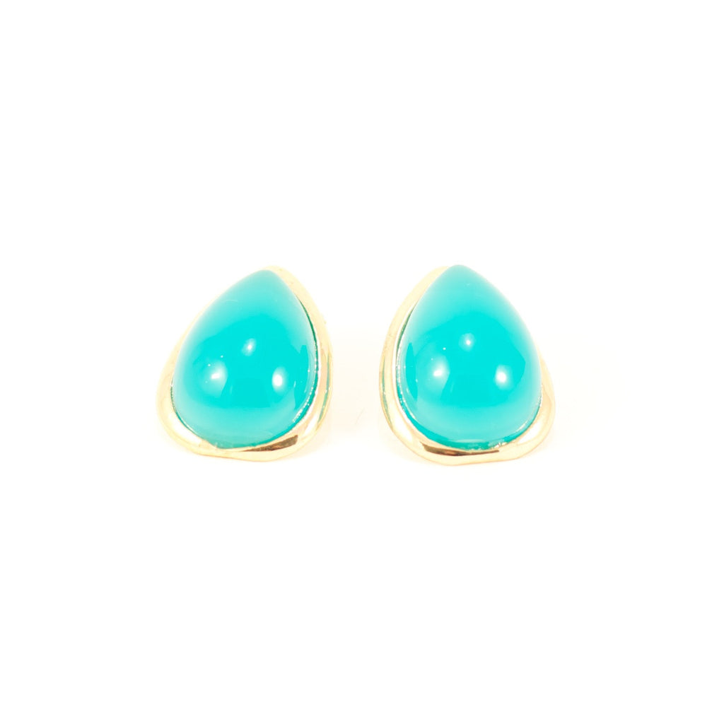 Tears of Turquoise Earrings. Turquoise stud earrings, oversized teardrop shape.