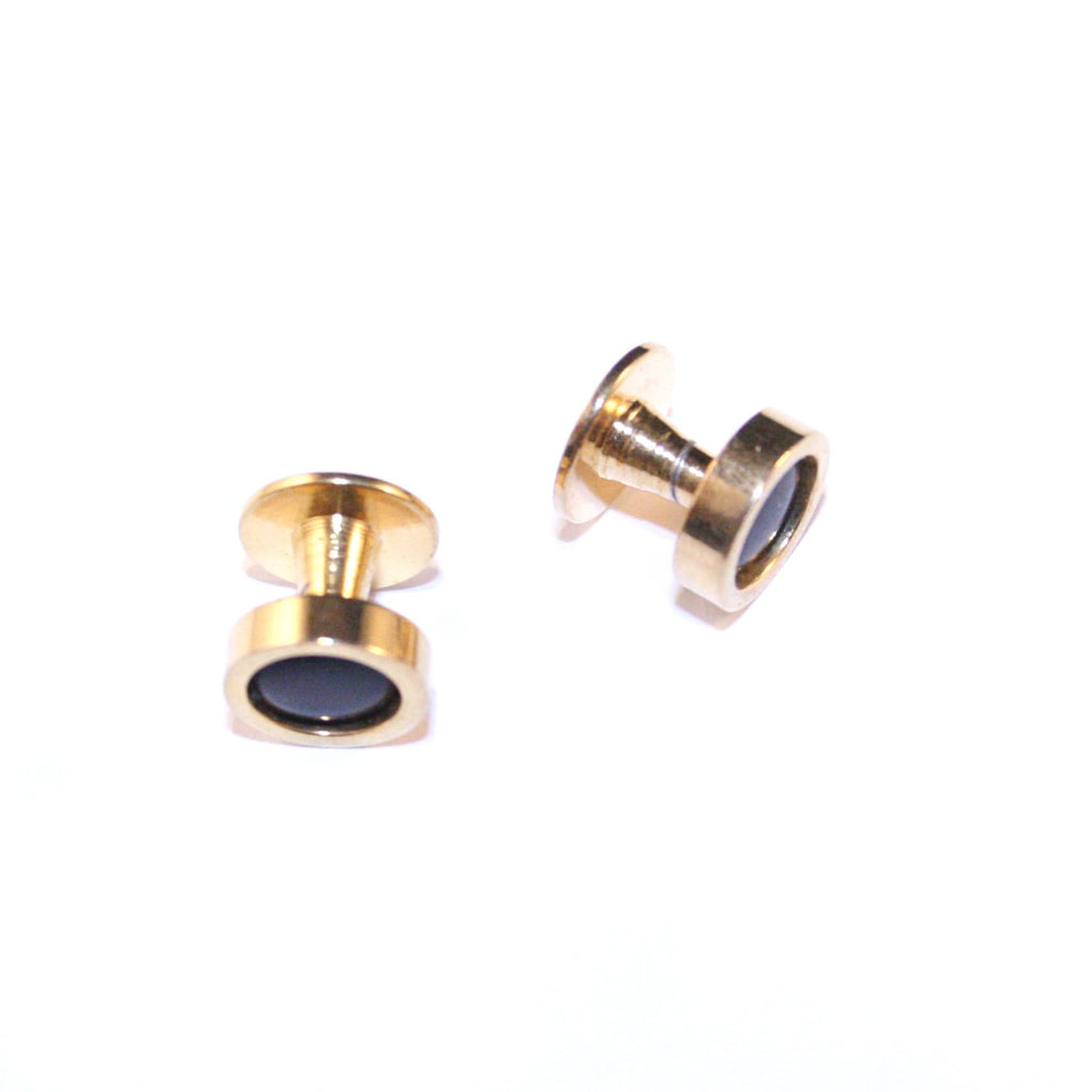 Darkly Recessed Gold Vintage Cufflinks