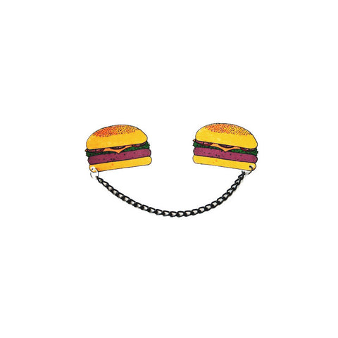 Lazylinepainterbelle Giant Cheeeezeburger Collar Clips. Burger measures 5 x 3.5cm with a 10cm black chain