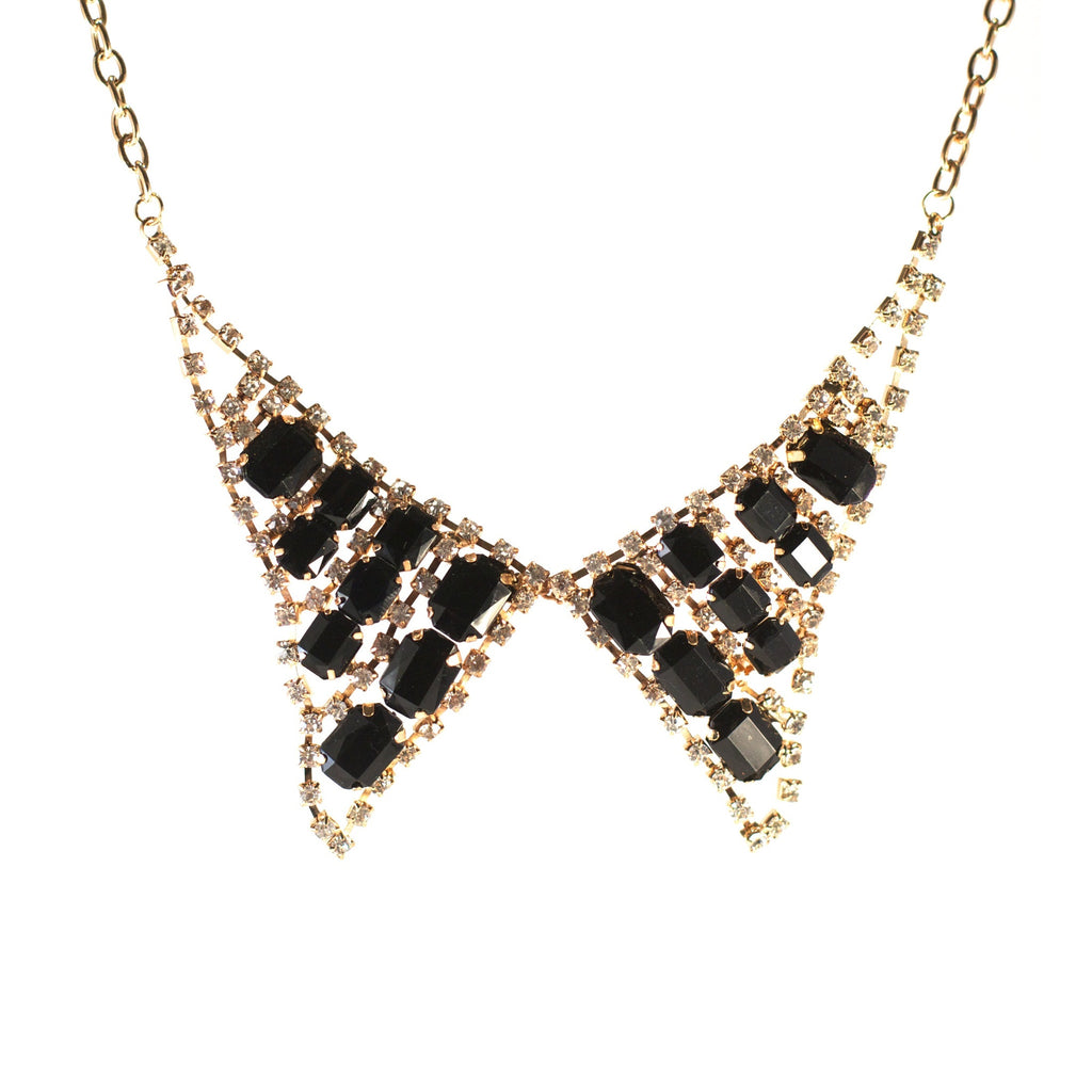 Collar Candy Necklace. Gold colour Peter Pan necklace with black stones.