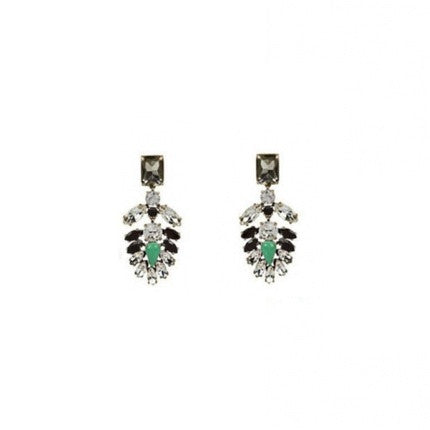 The Great and The Gorgeous Earrings. Crystal statement earrings, green and black coloured.