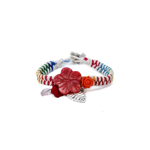 Feather and Flower Bracelet. Red and white acrylic bracelet.