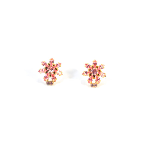 Fragile As A Flower Vintage Earrings. Gold coloured metal with pink and lilac sparkly stones.