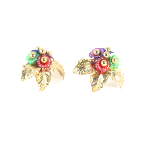 Greek Goddess Vintage Clip-On Earrings. Gold coloured metal with multi coloured plastic.