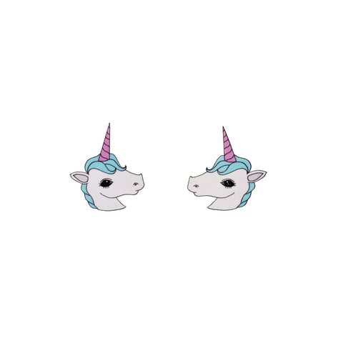I Am A Unicorn Earrings. Silver plated stud earrings with an original unicorn illustration.