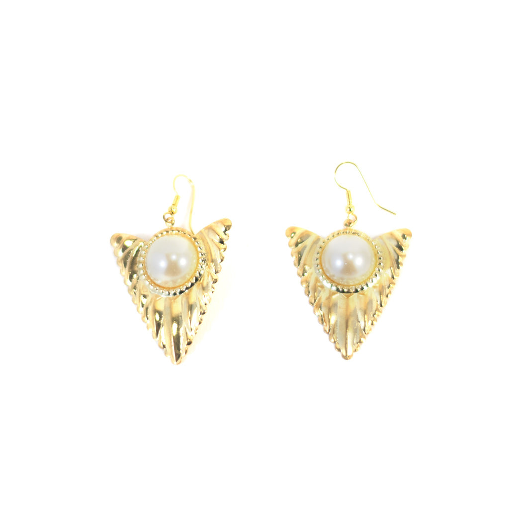 Triangular Truffles Vintage Earrings. Gold coloured metal with large pearl.