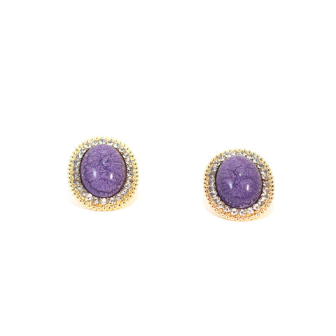 Berry Good Earrings. Stud, purple coloured stone, gold metal.