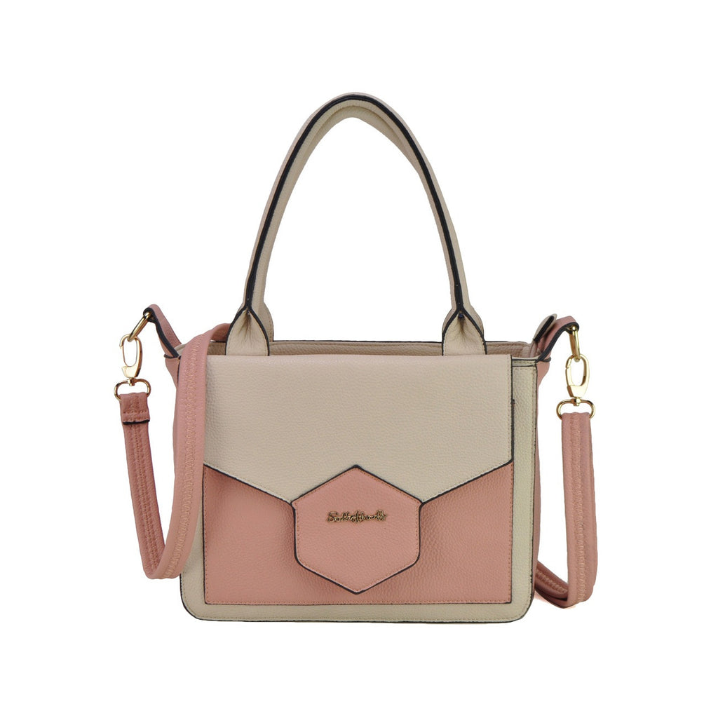 May Belle Bag. Pretty pink and cream with twin handle.