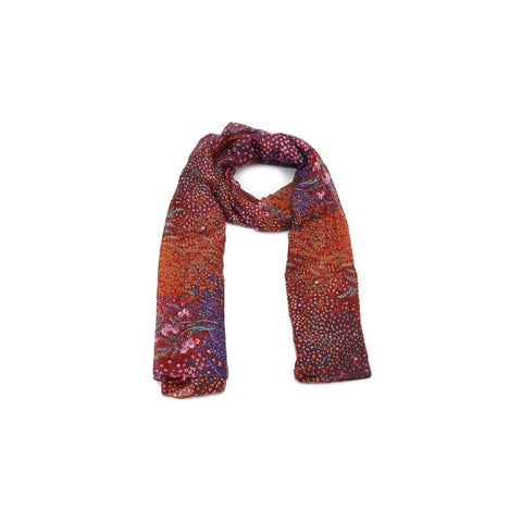 Planetarium Petals Scarf. Red and purple floral design.