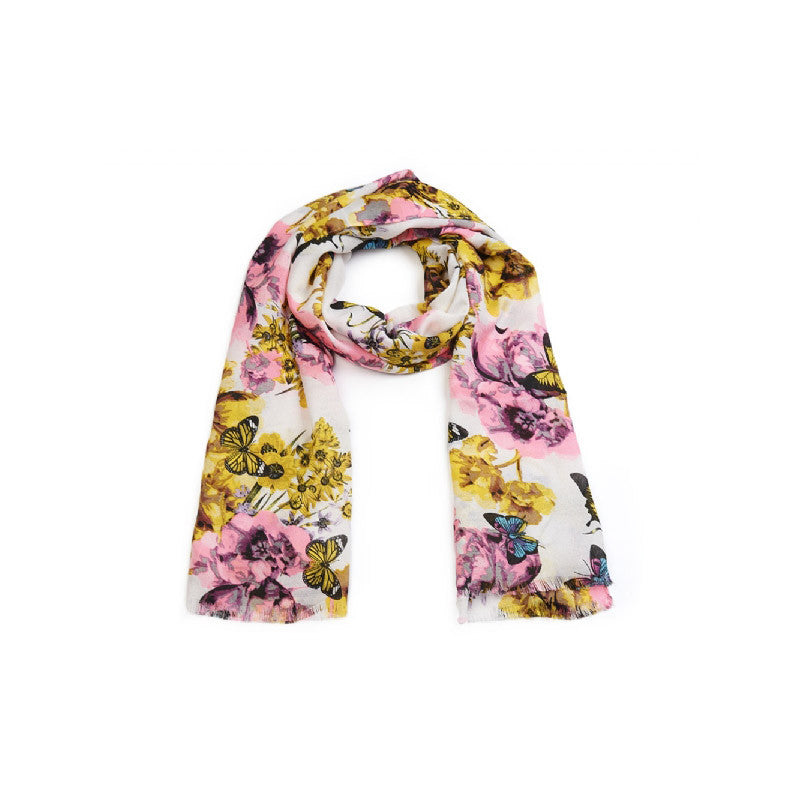 Gladiola Scarf. White Floral and Butterfly Print Long scarf.