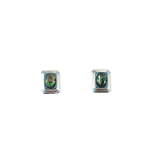 Sea Shell Chic Vintage Earrings. Rectangular clip-on vintage earrings Silver coloured metal with green coloured stone.