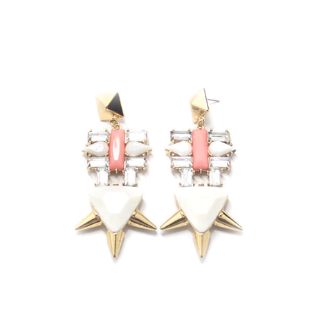 Snow Queen Earrings. Chunky earrings with white and pink stones.