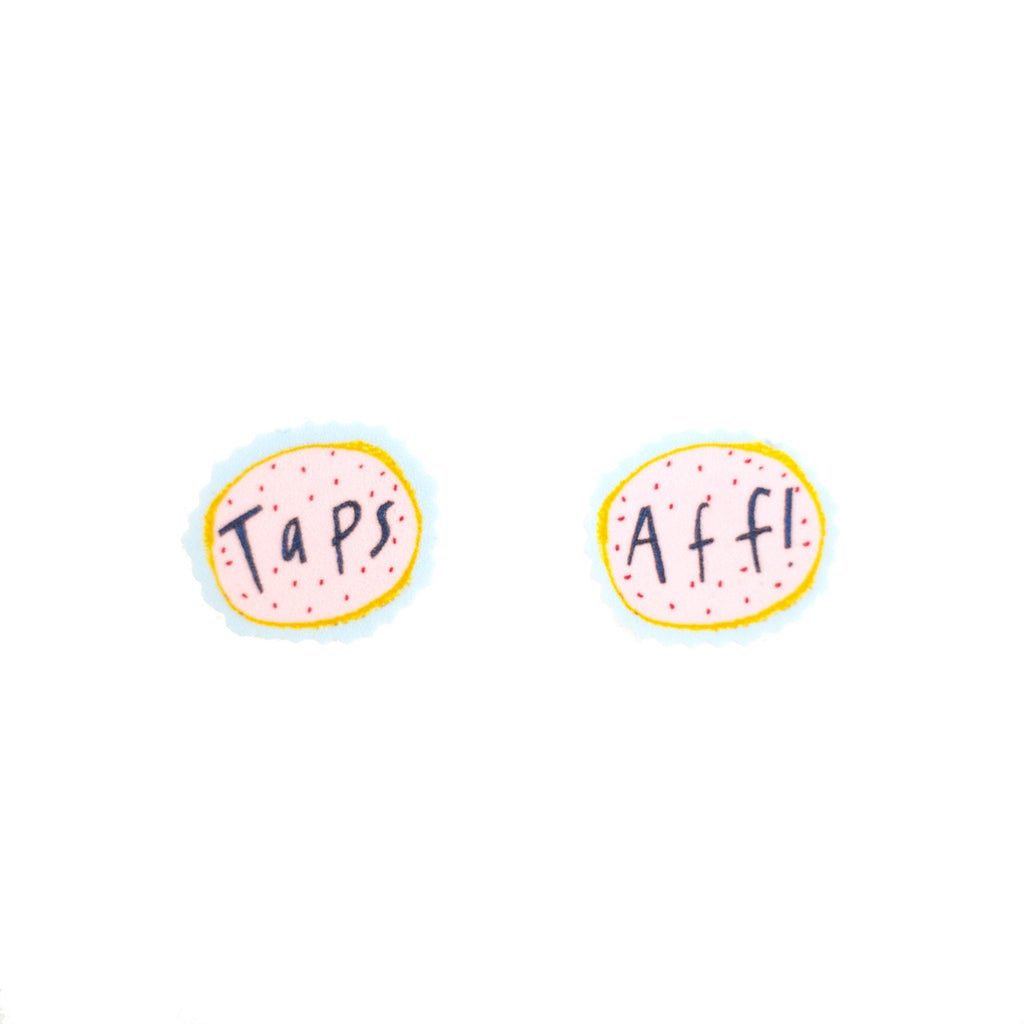 Taps Aff Earrings. Handmade, illustrated, printed plastic.