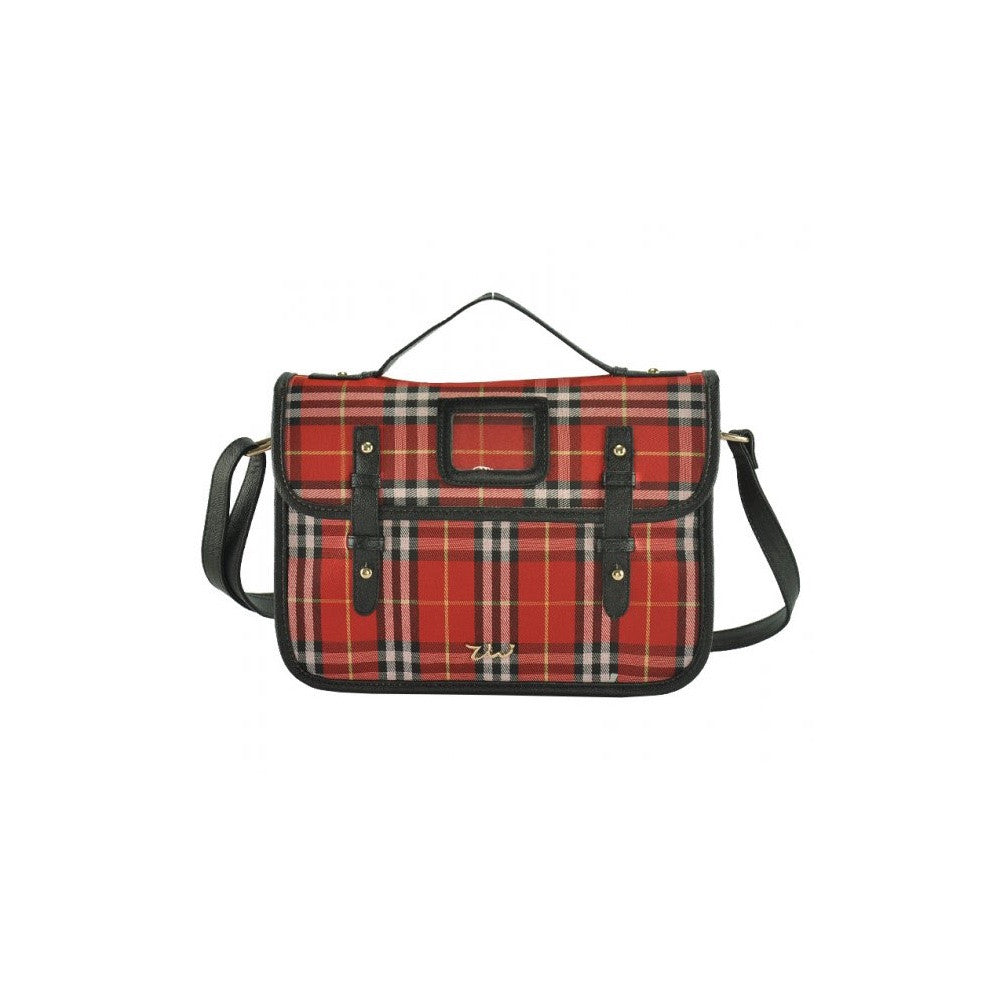 Tartan On The Town. Tartan print satchel bag.