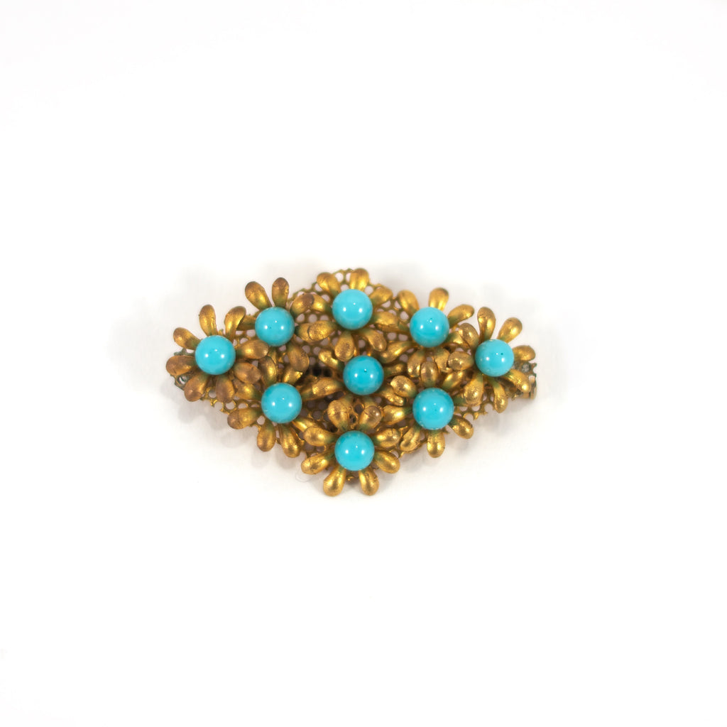 Turquoise Tina Vintage Brooch. Bronze coloured with turquoise coloured stones