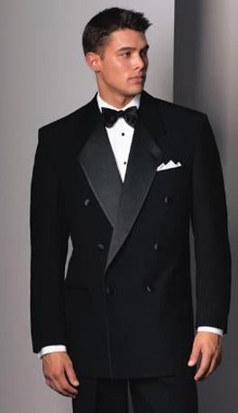 Traditional Black 6-Button Notch Double Breasted Tuxedo - Tuxedo Club