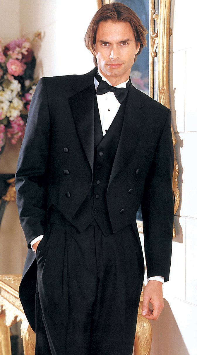 Traditional 'Notch Tailcoat' Black 6-Button Notch Tuxedo - Tuxedo Club