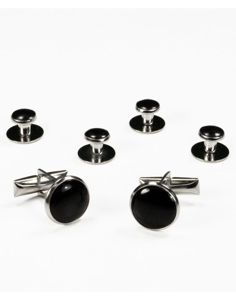 Black on Silver Metal Studs and Cufflinks Set - Tuxedo Club