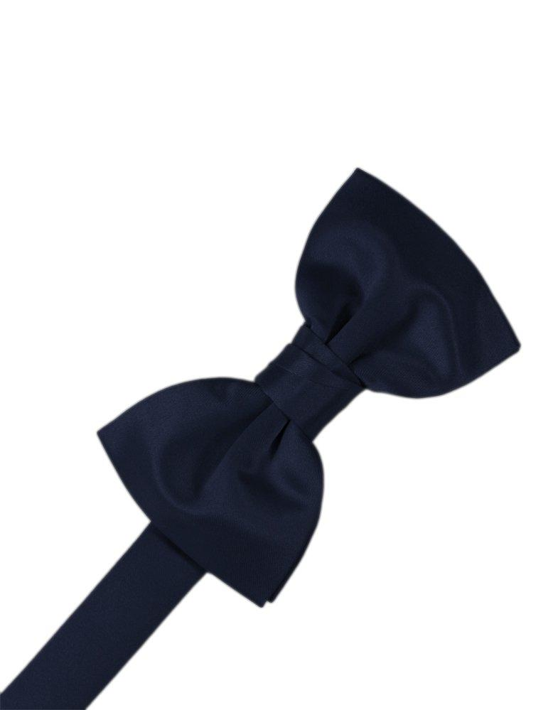 Midnight Blue Solid Satin Bowtie - Tuxedo Club